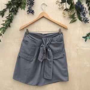 Flawsome Gray Upcycled Blazer Tie Skirt